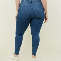 Curves Blue Lift and Shape Skinny Jeans | New Look