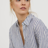 Linen Shirt - Blue/white striped - Ladies | H&M CA