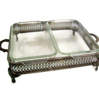 Vintage Silver Plated Casserole Dish Server, Handled and Footed, Two Anchor Hocking Loaf Baking Dishes