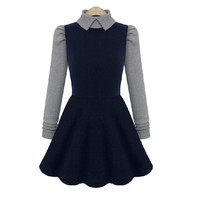 Women Casual Dress Long Sleeve Peter Pan Collar Knitted Patchwork Dress Vintage Plus Size Vestidos DH1302
