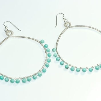 Large Turquoise Earrings,  Round Boho Hoops, Blue Howlite, Sterling Silver Wire Wrapped Jewelry,  Beach Boho, Gypsy Earring, California Chic