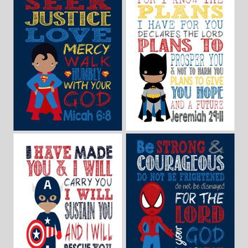 African American Christian Superhero Nursery Print Set of 4 - Batman, Captain America, Superman and Spiderman