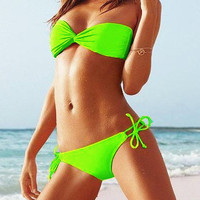 Lime Bandeau Top & Side-tie Bottom from Hallomall