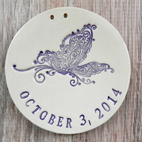 Personalized Butterfly Lace Ceramic Purple Pottery Ring Holder Romantic Round Plate