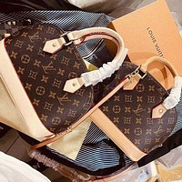 Louis Vuitton LV Women Fashion Leather Flower Crossbody Shoulder Bag Satchel Handbag