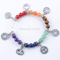 YOWOST Free Shipping 7 Chakras Reiki Gem Stone Beads Strand Bracelet Jewelry Yoga Meditation For Women Bracelets IK3283