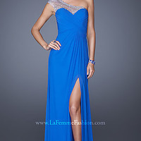 One Shoulder Sweetheart Bodice Prom Gown by La Femme