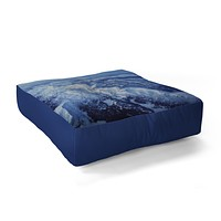 Leah Flores Winter Mountain Range Floor Pillow Square
