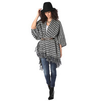 Pattern knit cape with fringed edges