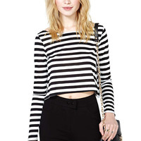 Black And White Striped Long Sleeves High Low Cropped Top