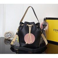 FENDI WOMEN'S LEATHER MON TREASON BUCKET SHOULDER BAG