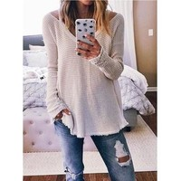 Plus size Women Fashion Long Sleeve V-neck Casual Loose Knit Sweater WZC5214 [8833520076]