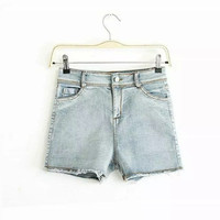 Summer Vintage Rinsed Denim Slim Denim Pants Shorts [4917818820]