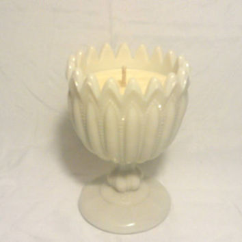 Vintage Milk Glass Goblet Scented Soy Wax Candle