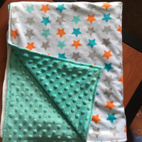 Minky Stars Baby Blanket/Toddler Blanket/Reversible