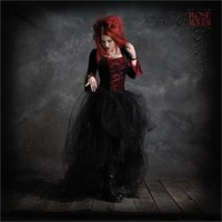Gothic Clothing & Dark Romantic Goth Couture - Camellia Gothic Wedding Gown with Velvet Lace Up and Tulle Bustle Gather