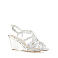 Womens Debut Silver glitter strap high wedge sandals
