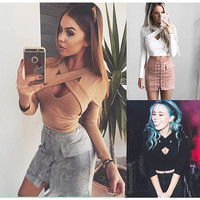 KAYWIDE 2016 Women Tops Series Autumn Winter New Sexy Long Sleeve Slim Fit Tee Tops Casual T-shirt For Women A16221