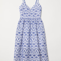 Dress with Eyelet Embroidery - White/blue - Ladies | H&M US