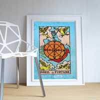 Tarot Print Wheel of Fortune Retro Illustration Art Rider Print Vintage Giclee on Cotton Canvas or Paper Canvas Poster Wall Decor