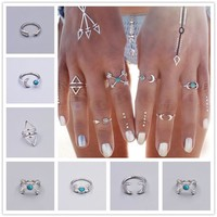 6 PC Turquoise Boho Ring Set in Silver or Gold