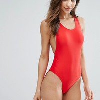 Missguided High Leg Swimsuit at asos.com