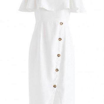 Just in The Mood Cold-Shoulder Dress in White