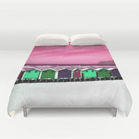 Wooden Houses on the Beach Duvet Cover by Aloke Design