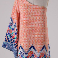 Vintage Print One Shouldered Dress - Orange