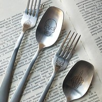 Skull Print Flatware Stainless steel Tableware