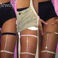Jewdy Rhinestone Thigh Body Chain Summer Velvet leg chains for women Statement Body Jewelry sexy thigh chains Fashion Jewellery