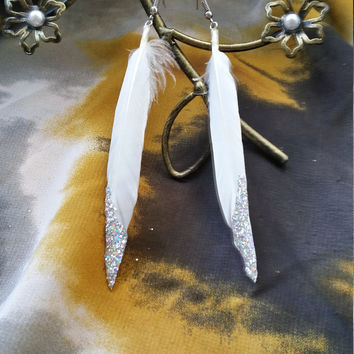 White Feather Earrings with Silver Glitter - Feather Earrings - glitter earrings