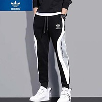 Adidas Fashion New Letter Leaf Women Men Sports Leisure Pants Black