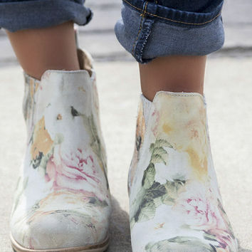 Change Of Pace Floral Print Suede Ankle Boots