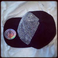 Classic Baller Flatbrim in Black with Metal Rhinestones