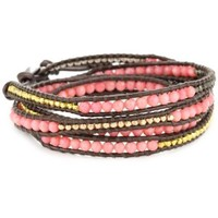 Chan Luu Salmon Coral And Plated Beads On Tamba Leather Wrap Bracelet