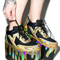 Y.R.U. Qozmo Lo Matrix Platform Sneakers Black/Gold