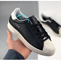 Adidas clover Superstar Pure black and white shell toe casual sneakers