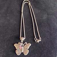 Silver Butterfly Charm Necklace With Pink Swarvoski Bicone Bead Charm, Butterfly Necklace