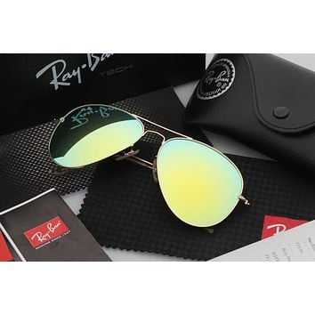 Ray Ban Aviator Sunglass Gold Grass Green Mirrored RB 3025