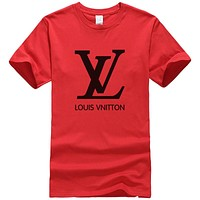 LV Louis Vuitton New fashion letter print couple top t-shirt Red
