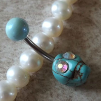 Turquoise Skull Rhinestone Eyes belly Button Navel Ring Body Jewelry
