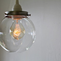 CRYSTAL BALL - Hanging Pendant Lamp With A Clear Round Orb Glass Globe Shade - Minimalist BootsNGus Lighting Fixture