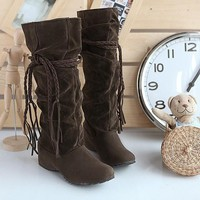 New Women Brown Round Toe Tassels Mid-Calf Boots
