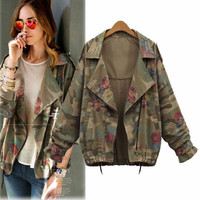 2016 New Arrival Jacket Women Army Green Rose Print Camouflage Jacket Chaquetas Mujer Fall Women Jackets Coat