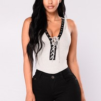 Loralee Lace Up Bodysuit - Heather Grey
