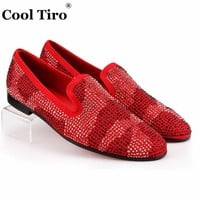 COOL TIRO Red Suede Men Loafers Rhinestones Slippers Casual Man moccasin Party Wedding Dress Shoes Men's flats Genuine Leather