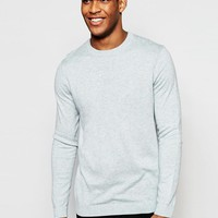 ASOS | ASOS Crew Neck Sweater in Light Blue Nep Cotton at ASOS