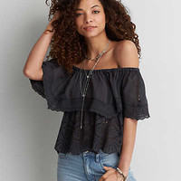AEO Textured Off-The-Shoulder Top, Washed Black