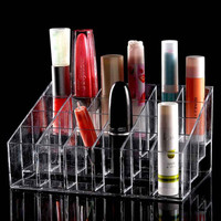24 Trapezoid Clear Makeup Cosmetic Organizer Storage Lipstick Holder Case Stand